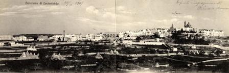 Foto panoramica di Locorotondo con veduta dalla Valled'Itria anno 1907
