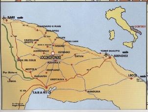 Cartina indicante la posizione geografica del comune di Locorotondo